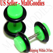 2038 Neon Lime Green Fake Cheater Illusion Faux Ear Plugs 16G Bar 2G = 6mm 2pcs