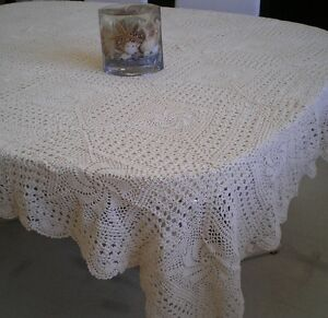 Crochet Table Cloth 100% Cotton Hand Made White or Beige Oblong fit 4-10 seats