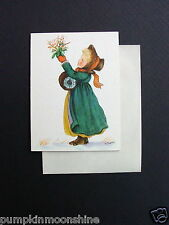 Vintage Unused 1946 Tasha Tudor Xmas Greeting Card, Precious Girl with Mistletoe