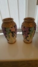 Set of 2 hand painted colourful ceramic vases