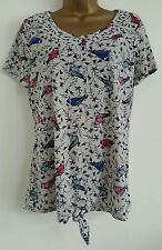 NEW PER UNA M&S Bird Print Knot Front Grey Red Blue Top Blouse