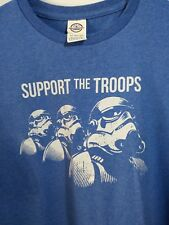 Nerd T-Shirt Blue Support the Troops Storm Trooper L 40-44'' Chest Poly/cotton