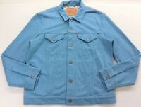 New Mens Levi's 16097 Blue Cotton French Terry Knit Classic Trucker Jacket Large