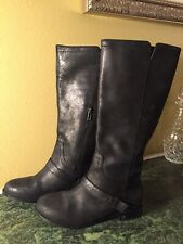 UGG Women's Channing II Riding Boots Black Leather Metal Stirrup Side Zip Size 7