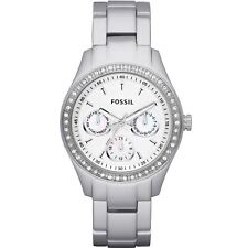 Fossil Ladies Silver Watch Present Xmas Gift Birthday UK Seller ES2947