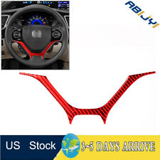 For Honda Civic Coupe 2013 2015 Red Carbon Fiber Steering Wheel Panel Cover Trim Fits 2013 Honda Civic Si