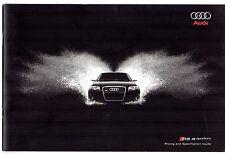 Audi RS4 Specification 2007 UK Market Brochure Saloon Avant Cabriolet