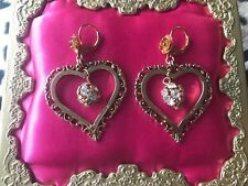 Betsey Johnson Throwback To Betsey Gold Heart Rose Crystal AB Ball Earrings