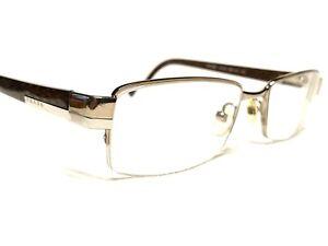 Prada VPR60H 7BP-1O1 Men's Brown Carbon Half Rim Rx Eyeglasses Frames 51/18~135
