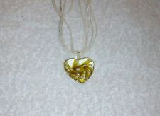 Beige Unusual Patterned 4cm GLASS HEART NECKLACE 18-20""