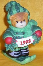 Porcelain Lucy Rigg & Me Teddy Bear Skier Skiing Green Sweater Hat Figurine 1998
