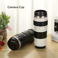 400ml Camera Lens Bottle Thermos Shaped Stainless Coffee Mug Cup w/ Drinking Lid
