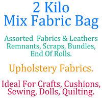 2 Kilo Bag Assorted Upholstery Fabric Remnants Scrap End Roll Bundle Craft Dolls