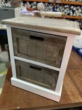 Geko Wooden Cabinet 2 Drawer White Brown 38 x 28 x 48cm