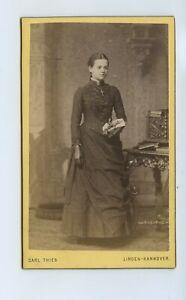 Young Named Woman & Crucifix 1887 CdV Photo - Thies Linden Hanover Germany