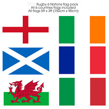 Rugby 6 Nations Flag pack 5ftx3ft Fabric flags with eyelets All Six Nations flag