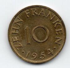 Germany - Saarland- 10 Frank 1954