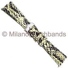 20mm Glam Rock Handmade Gen. Italian Leather Python Grain Gold Black Watch Band
