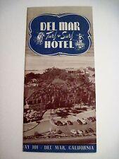 """Vintage """"Del Mar Turf & Surf Hotel"""" Brochure - Highway 101 Del Mar, California*"""