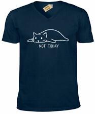 Not Today Camiseta Gato Divertido Perezoso para Dormir Gatito Hombre Cuello en V