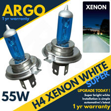 2x Xenon White H4 Super Halogen Headlight Road legal Bulbs 12v 60/55w Pair