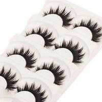 5 Paar Handgemachtes dick Falsche Wimpern  Eye Lashes lange schwarz Makeup #Z05