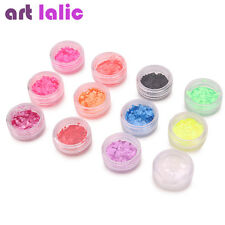 Ultra Thin Fluorescent Nail Art Shapes Sequins UV Gel Acrylic Tips 12 Colors Set