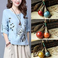 Retro Boho Handmade Ceramic Pendant PU Leather Rope Necklace For Linen Dress