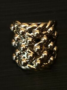 Mens 9ct Gold 5 Row Keeper Ring GF Highly Polished Size R B232