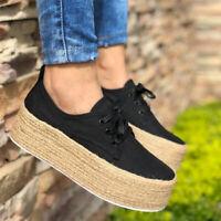 Women Ladies Low Flat Canvas Espadrilles Lace Up Trainers Platform Comfort Shoes