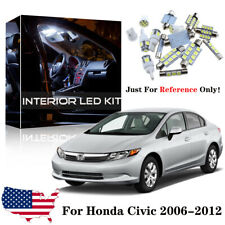 8x White LED Interior Package Bulb Kit For 2006-2012 Honda Civic Sedan + Tool