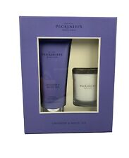 Pecksniff's Lavender & White Tea Bath Shower Gel and scented candle Gift Set NEW