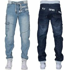 New ETO Mens Designer Fashion Cuffed Jogger Regular Blue Denim Jeans All Waist