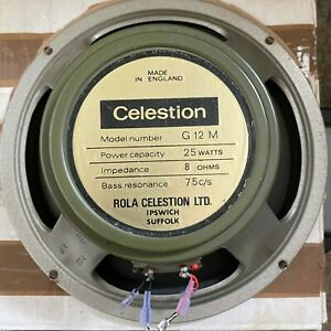 Celestion G12m Pulsonic cone 25w 75hz 8Ohm greenback speaker (2 available)