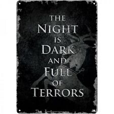 NEW OFFICIAL SMALL TIN METAL WALL SIGN GAME OF THRONES THE NIGHT IS DARK