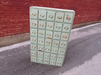 Antique Wood Cubby Cabinet 35 Drawers Organizer Industrial Vintage w/Brass Pull