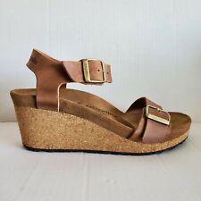 Birkenstock Papillio Soley Wedge Heel Platform Sandal Tan Leather EU 39 US 8