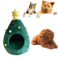 Christmas Tree Shape Pets House Bed Semi Closed Soft Cats House Nest Dogs Bed