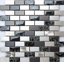 30x30cm Silver and Black Stainless Steel & Black Glass Mosaic Tiles Sheet MT0137