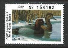 ND50, 1989 North Dakota Duck Stamp, $6.00 Redheads