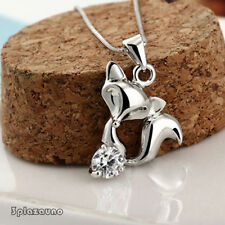 NEW Lovely Zirconia Little Fox Pendant Charm Necklace Jewelry Gifts No Chain UNO