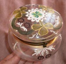 Bonbonnière 1900 art nouveau verre & émail style Legras - Décor trèfle & fleurs