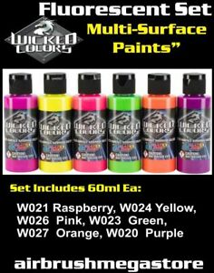 Wicked Airbrush Colours 60ml Fluorescent Set Importer Direct + Free Insured Post