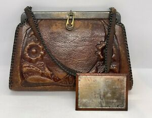Vintage 1918 Leather Purse Hand Bag Hand Tooled with Pocket Mirror