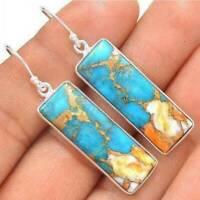 Retro Women Opal Turquoise 925Silver Ear Dangle Drop Earrings Party Jewelry Gift