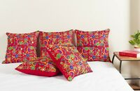 "16"" Silk Cushion Cover Indian Embroidered Paisley Bohemian Decor Throw Pillow"