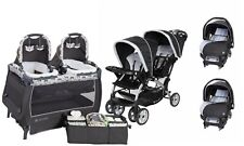 Double Baby Stroller with Baby Trend Infant Car Seat Twins Playard Travel System