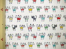 CATS PRINT on WHITE Background Japanese Fabric - 110cm x 50cm