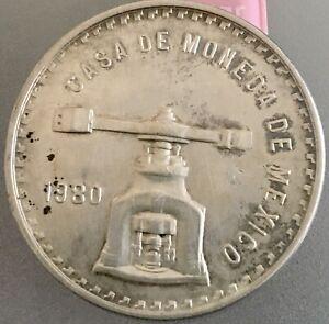MEXICO 1980 CASA DE MONEDA 1 OZ SILVER UNA 1 OZ TROY DE PLATA PURA  .925  33.6gr