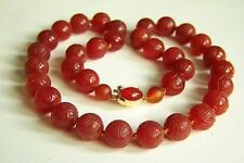 """Vintage Chinese Carved SHOU Carnelian Beads Sterling Necklace 19 1/4"""" 83.2 g"""